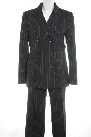 Moschino Tailleur-pantalon noir-rouge foncé rayure fine style d'affaires