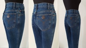 MOSCHINO Jeans Dark Denim / Peace Sign & Hearts High Waist / Size 26 / UVP 98€