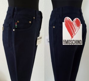 MOSCHINO Jeans Dunkelblau / Peace Sign & Hearts High Waist / Size 28 / UVP 98€