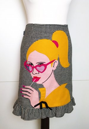 * MOSCHINO JEANS * High Waist Rock Wolle Pepita Pop Art  Gr Ital 40 D 34 36
