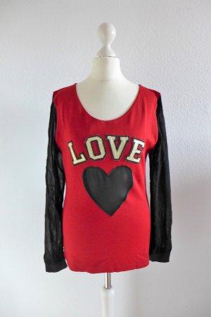Moschino Jeans Pulli Pullover Love Herz rot schwarz 90er it 42 dt 36