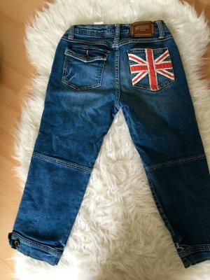 Moschino Jeanshose Caprihose 7/8 England Flagge Union Jack 3/4