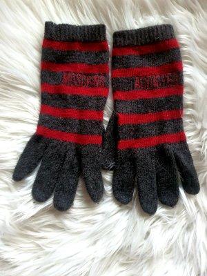 Moschino Lammwolle Angora Handschuhe Grau Rot