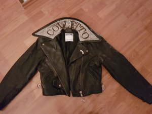 "Moschino Leather Vintage Leather Jacket with Jeweled Collar ""Colletto"""