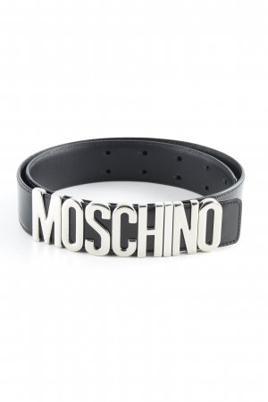 "Moschino Ceinture en cuir ""Belt Logo Patent Leather Black/Silver"" noir"