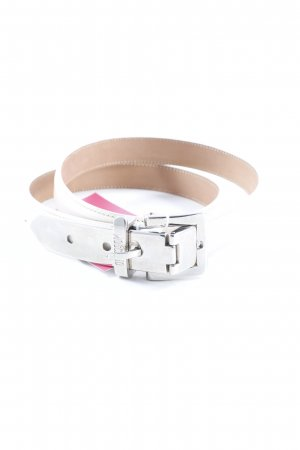 Moschino Leather Belt cream-silver-colored simple style