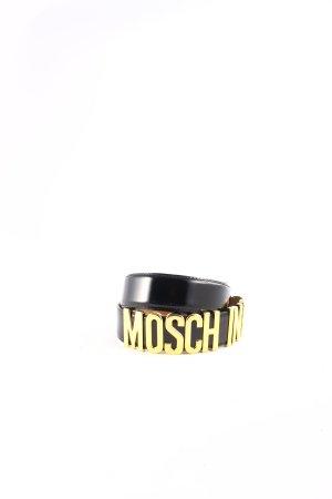 Moschino Ledergürtel schwarz-goldfarben Glanz-Optik