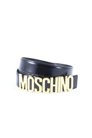 Moschino Ledergürtel schwarz-goldfarben Metallic-Optik