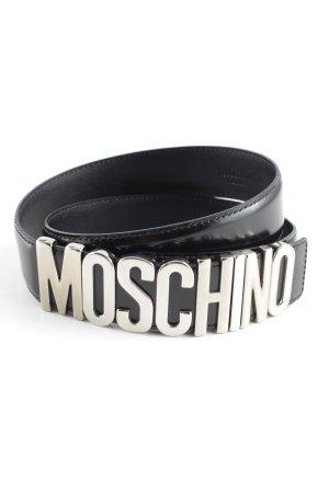 Moschino Ledergürtel schwarz-silberfarben Elegant