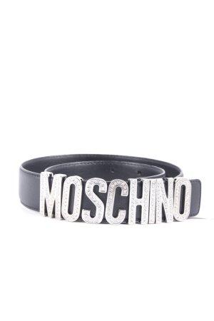Moschino Ledergürtel schwarz-silberfarben Glanz-Optik