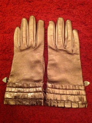 Moschino Leather Gloves bronze-colored leather