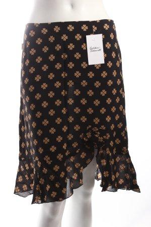 Moschino Falda negro-marrón claro estampado repetido sobre toda la superficie