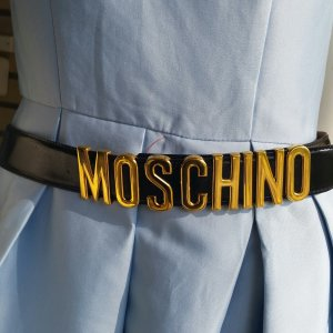 Moschino Leather Belt black-gold-colored leather