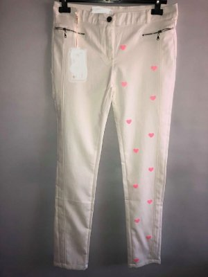 Jegging blanc-rose tissu mixte