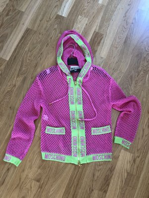 Moschino Cardigan in maglia verde neon-rosa