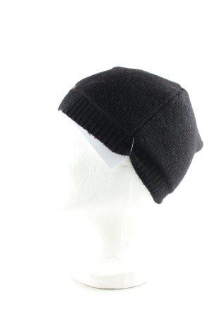 Moschino Chapeau en tricot noir-rouge style décontracté