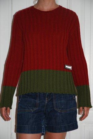 Moschino Jersey de cuello redondo rojo ladrillo-verde bosque Lana