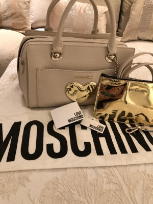 Moschino Bolso barrel crema-color oro
