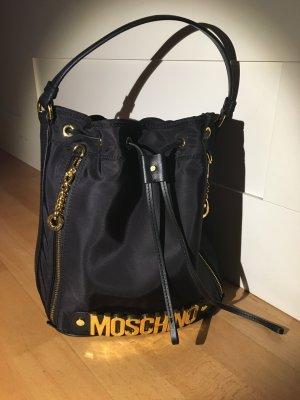 Moschino Tasche bucket bag Shopper schwarz Nylon/Leder neu mit Staubbeutel