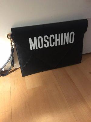 Moschino Tasche Clutch schwarz mit weißem Schriftzug Leder neu mit Rechnung und Staubbeutel