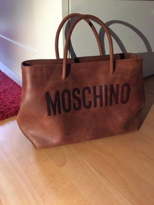 Moschino Tasche Schultertasche cognac Leder neu mit Rechnung und Staubbeutel