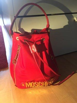 Moschino Tasche Shopper Schultertasche rot Nylon/Leder neu mit Rechnung und Staubbeutel