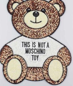 Moschino Toy Patch XXL Logo for Shirt Sweater Pulli Jacke edel Glitzer