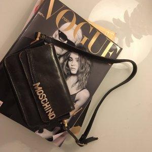 Moschino Handbag black-silver-colored leather