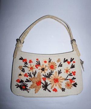 Moschino VINTAGE Tasche mit Bastblumen bestickt