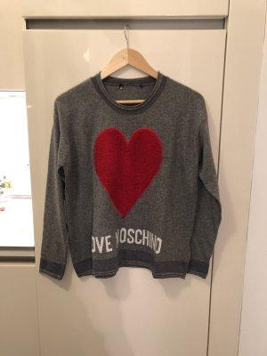 Love Moschino Maglione di lana grigio-rosso