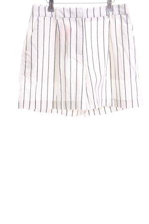 Moss Copenhagen High-Waist-Shorts wollweiß-schwarz Streifenmuster Casual-Look
