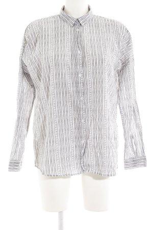 Moss Copenhagen Langarmhemd weiß-grau Streifenmuster schlichter Stil