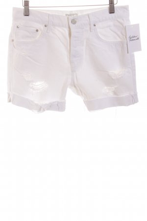 Mother Jeansshorts weiß Destroy-Optik