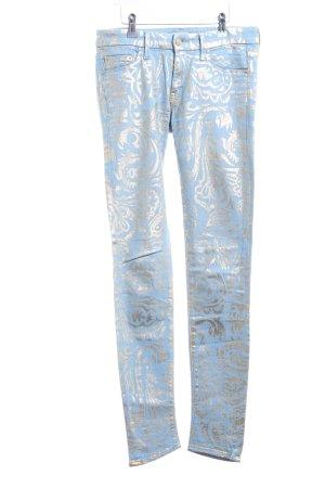 Mother Skinny Jeans blau-silberfarben abstraktes Muster Casual-Look