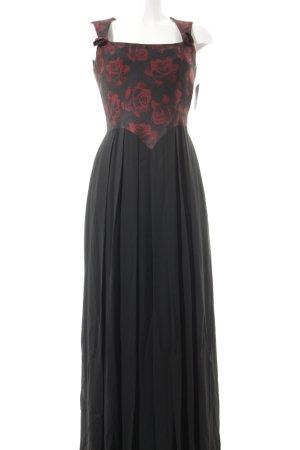 Mothwurf Abendkleid schwarz-rostrot florales Muster Romantik-Look