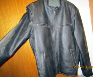 100 Leather Jacket anthracite-green grey leather
