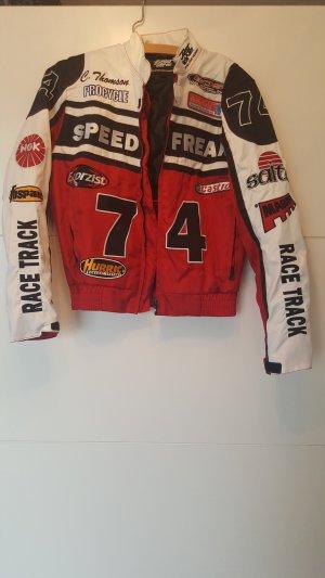 Motorrad Jacke Rot Schwarz Weiss