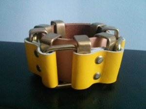 Moxham Statement Taba Armreif Armband Metall Chain Optik Leder