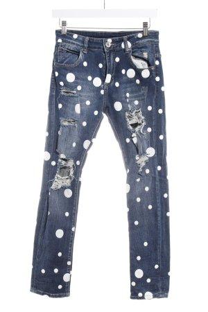 Mozzaar Skinny Jeans graublau Punktemuster Jeans-Optik
