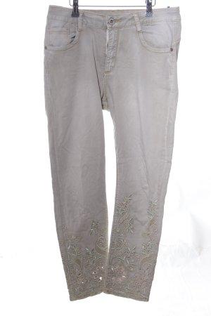 Mozzaar Slim Jeans hellgrau Blumenmuster Casual-Look