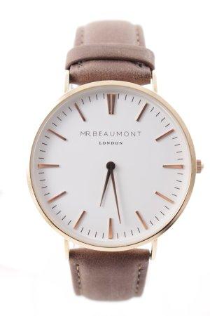 MR. Beaumont Horloge met lederen riempje goud-grijs-bruin elegant