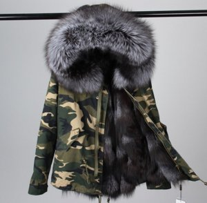 MR & MRS ITALY Parka Mantel Jacke Echt Fur Fell Echtpelz Camouflage Fuchs Silberfuchs