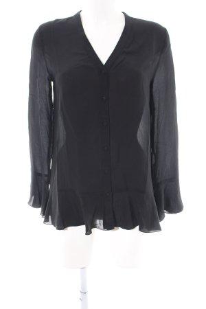Mrs & HUGS Langarm-Bluse schwarz Business-Look