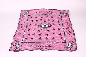MS_11 Polo Sylt Seidentuch Schal pink weiß schwarz 100% Seide