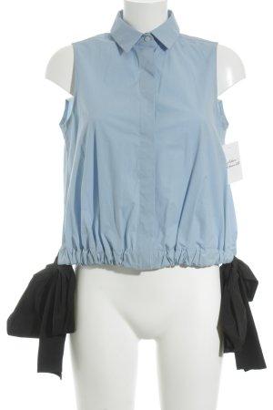 MSGM ärmellose Bluse himmelblau-schwarz Street-Fashion-Look