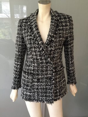 MSGM Blazer Jacke Schwarz Weiß 34 Boucle Wolle Seide Jacket Black White Tweed XS