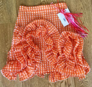 * MSGM * NEU ! High waist MINI ROCK VOLANTS orange weiß kariert Gr  36 38 ital 42