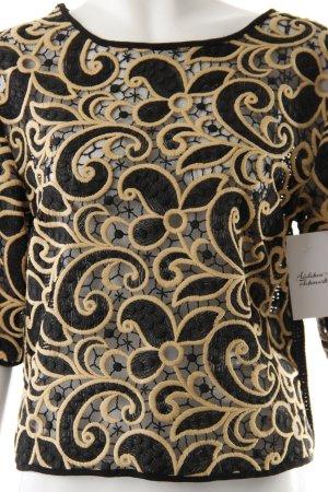 MSGM Oversized Shirt schwarz-creme florales Muster Transparenz-Optik