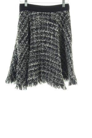 MSGM Gonna di lana nero-bianco stampa integrale stile casual