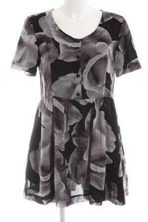 MTWTFSSWEEKDAY Blusenkleid schwarz-hellgrau abstraktes Muster Casual-Look